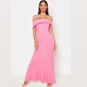 NWT Boohoo Bardot sleeve pink fishtail maxi dress!